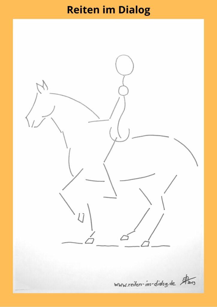 In der Versammlung übernehmen beide Hinterbeine vom Pferd Gewicht, welches ansonsten von den Vorderbeinen getragen wird.