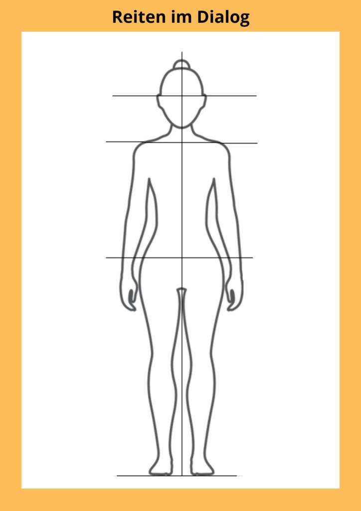 Auf dieser Skizze ist dargestellt, wie die Schultern eines geraden Menschen auf einer Höhe stehen.