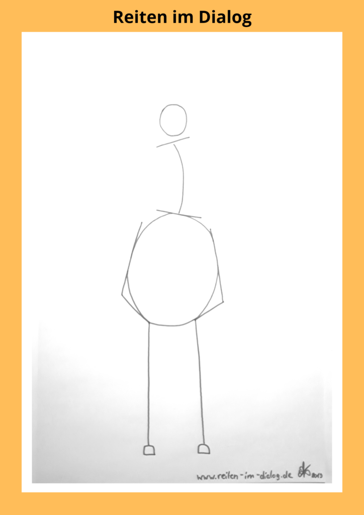 Diese Skizze zeigt einen Reiter der in der rechten Taille einknickt.