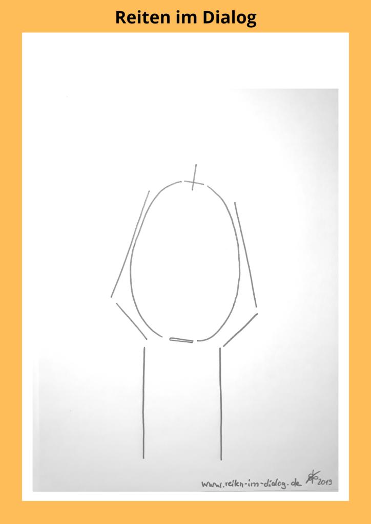 Auf dieser Skizze ist dargestellt, wie der Brustkorb des Pferdes in der Biegung rotiert. Er senkt sich minimal innen und hebt sich außen leicht an.